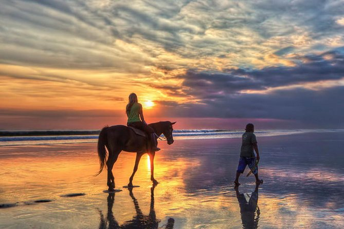 • With minimum 2 persons booking, exclusive and the only one horse ride operator on Seminyak Beach Bali<br>• All horses owned by Royal family of Badung Kingdom <br>• One hour horse ride on the Seminyak beach area's quieter stretch of beach<br>• Enjoy the sound of the waves as your horse canters by<br>• See surfer along Legian and Seminyak beach while you ride for your unforgettable moment in Bali<br>
