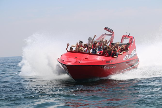 This Jet Boat ride gives you a unique opportunity to experience a one of a kind ride on the ocean on a thrilling, high speed jet boat ride. The boat is custom built in Christchurch New Zealand and is a 630hp high performance jet boat designed to perform an array of stunts including 270 degree spins, fishtails and power brake stops. Suitable for children 120cm and above.