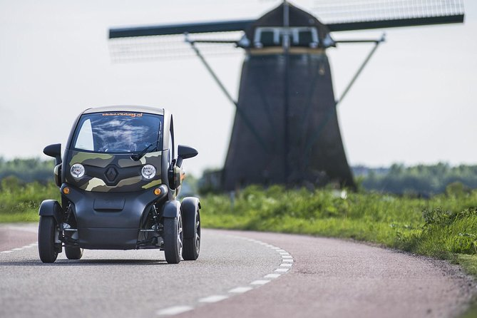 Enjoy an unforgettable drive it yourself trip through the typical Dutch countryside in the South-Holland region with Renzy.nl. In a 100% electric and eco-friendly 2-person Renault Twizy with GPS navigation, you can explore the traditional Dutch countryside with its windmills, polders and picturesque villages. On this tour we have 2 stops, one at a biological fruit orchard and also a visit to the picturesque Kaag island. Ride this lovely tour at your own pace and off the beaten track!<br><br>Our GPS tours are driven with a easy to handle 2-person Renault Twizy. The unique open and contemporary design of our Renault Twizies give you a sense of freedom. You feel, smell and experience where you drive. The Twizy is mainly driven on country roads where you also drive with a normal car. Driving a Renault Twizy is super easy and fun: on the road you attract a lot of attention! The Twizy is 100% electric and gentle on your ears.<br><br>We can handle groups up to 12 people, 6 cars available per time slot.<br>