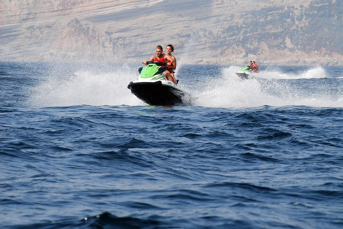 This is an experience full of adrenaline!<br><br>You will be able to drive the jet ski in a beautiful place.<br><br>If you are a group or a family, and some of you don't want to go in the jet ski but want to cheer and share this experience, you can join us and see your beloved ones having fun from the boat.