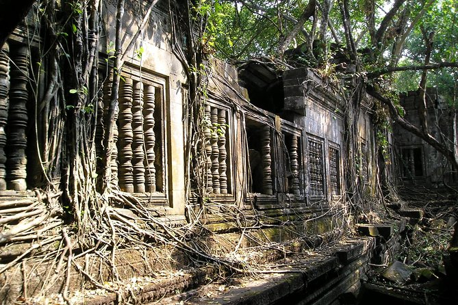 You'll start with an early morning pick-up from your hotel in Siem Reap, then your driver will take you through the lush Khmer countryside to the remote Beng Mealea temple. Explore the 11th-century ruins emerging from the tangled overgrowth of Cambodian jungle at Beng Mealea, before sitting down to enjoy a picnic lunch in the grounds.<br><br>After taking in the beauty of the temple, drive 1-hour onwards to Koh Ker, north-east of Siem Reap. Discover the ancient Koh Ker temples, once known as Chok Gargyar. Explore the 30 major structures of the mysterious site and walk through the ruins of sacred buildings and religious sculptures. Some of the giant sculptures from Koh Ker now make up the collection at the grand National Museum in Phnom Penh.<br><br>After your action-packed day visiting Cambodia's lost temples and mystical jungles, you'll be driven back to your hotel in Siem Reap.
