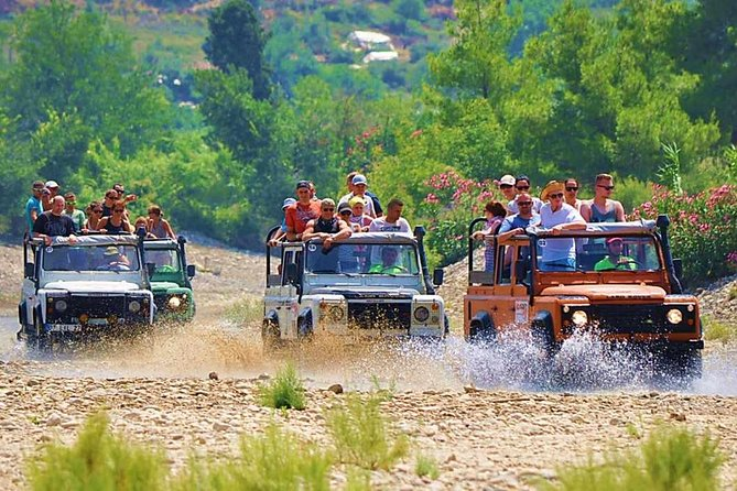 The Alanya Jeep Safari is an adrenaline-filled tour that includes fun as well as culture. There will picture breaks in various areas to take pictures of the Alanya view. There will be breaks in the banana and orange groves found in the Taurus mountains.<br><br>You will visit Alanya's largest cave, the Dim Cave. For the duration of the tour, you will be accompanied by a guide. You will be served an open buffet lunch on the Dim River.<br><br>You will have the opportunity to swim in the water park found on the Dim River or in the river's cold water. If you want to, there will be sections where you can fish. You will be provided with all the equipment to fish. You will receive information about rural life in the villages found above the Dim Dam. If you want, you can taste the flatbread pastries made by the village ladies. After that and after visiting the village school and the mosque, we will head back towards Alanya.<br>