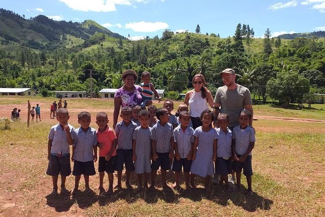 This small group 4-5 hour experience includes a quick ride up Nadi's back road, past the biggest Hindu Temple in the South Pacific and then it's time for the off-roading adventure to begin in the Nakala Mountains.<br><br>Splash through mud puddles (a seasonal offering), zip by cane fields, cross a neighboring river and ride higher up the pine forest mountainside before stopping on a mountain plateau overlooking the Mamanuca Islands. Here you'll enjoy light snacks whilst admiring the stunning views.<br><br>Then drive another 11km inwards to reach Nawaqadamu Village where only Go Dirty Tours and their guests can enter. Experience village life (no shows for tourists here - this is the real deal!) and visit children in a remote local school (omitted on weekends and holidays).<br><br>Winding tracks take you back to the main road through Nadi town. Enjoy a short stop at our local beach before heading back to base.<br><br>You'll be led by a local guide who will proudly tell you all about Fiji along the way.