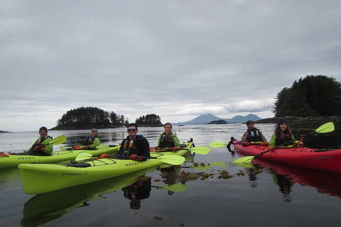 This is Sitka's most highly rated small-group kayak adventure. By combining an ample half-day of paddling with one-way boat transportation, you'll be able to explore a variety of Sitka Sound's countless islands and seldom-traveled passages.<br><br>While paddling through mazes of reef and kelp forest your interpreter/guide will help identify the colorful marine life visible below, including: crab, sea stars, anemones, sea urchins, jelly fish and more. At the surface, in addition to the star of the show – the ever amusing sea otter – we also frequently sight harbor seals, sea lions, porpoise, bald eagles, and a variety of marine birds.<br><br>We'll step ashore on a seldom-visited island to stretch our legs, do a little beachcombing, and enjoy a hearty snack while soaking in the majestic wildness and amazing views of the Sound. This half-day wilderness exploration concludes with an exciting 30-minute boat cruise to Sitka.<br>