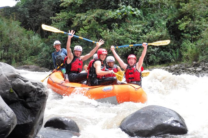 "One hour away from our office we find a spot which offers us 5 levels for river rafting, beginner, amateur, pro, mostly of our tours reach 3+ level which even children can manage it and enjoy it.<br><br> Our program begins at 09:00 from the office where we meet, fill out the registration form then the transportation will pick us up and we will drive around 1hr until we get the parking, here we put us on the gear and before we start we will have a short briefing for learning a couple of basic techniques, after the short practice we are ready for the action, we will spend around 2-2:30hr on the river. This is a kind of river we in some part we will be complete relaxed taking it easy but also we will have those ""loco moment"" on rapids..!!!<br><br>The place is just amazing and unique, it is located within the beginning the amazon region and the end of the Andean region, so the weather is warm the water as well, but we will see a landscape with mountains.<br>"