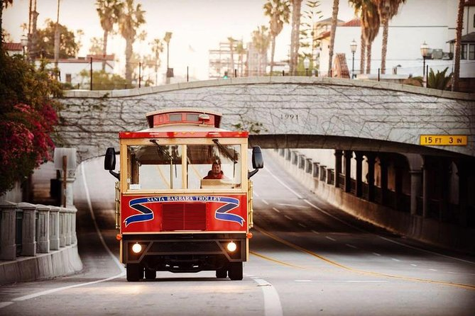 All Aboard Santa Barbara's Original & Longest Running Trolley Tour and Charter Services<br><br>See the American Riviera in 90 minutes <br><br>Santa Barbara sightseeing at its finest on the original, fully narrated Santa Barbara Trolley Tour. For 30 years, we've been providing trolley tours in the Santa Barbara community. Join us as we visit local hot spots such as the Santa Barbara Courthouse, Santa Barbara Zoo, Museum of Natural History, the historic Santa Barbara Mission, and more, all fully narrated by our energetic and knowledgeable tour guides! Our pick up location is only a 5 minute walk from the train station and 2 minute walk from sterns wharf.