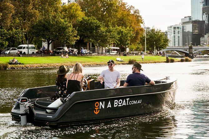 Price is per boat, fits up to 9 people. You don't need to have a boat licence or be an old salty to skipper yourself and explore Melbourne's spectacular Yarra River in our easy-to-operate electric boats. Get your crew of up to 9 people and see Melbourne from amazing new perspective.<br> • No boat licence required <br> • Up to 9 people <br> • Bring your own snacks & drinks <br> • Suitable for all ages <br> • Dog friendly!