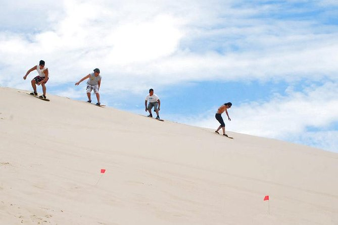 Surf down the impressive Salaverry sand dunes on a 2.5-hour excursion from Trujillo. Learn how to take control of the sand 'waves' and become a sandboarder in no time with help from your guide. Take in the beautiful views of the nearby ocean and a beautiful sunset over the large sand mountains before heading back to your accommodation.