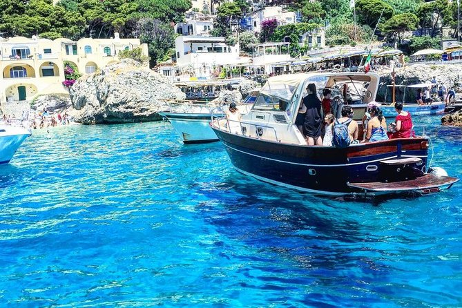 "This experience is ideal for those who want to discover the whole island of Capri in just one day.<br><br>let yourself be guided on a 360 ° tour. Discover with us this wonderful island. <br><br>we will move with a private mini bus to the highest part of the island, Anacapri, where it will be possible to enjoy an incredible view, stroll in the small village, reach the summit of Mount Solaro with the chair lift or simply relax tasting delicious local specialties<br><br> After about 2 hours we will reach the center of Capri, the heart of the island, where the famous ""Piazzetta"" is located, passing through the small alleys characterized by luxurious boutiques, we will reach the Gardens of Augustus, which offer the best view of Faraglioni Rocks symbol of the island to leave you once again breathless.<br><br>With the boat, we will show you all the beauties that the island of Capri can offer: a complete tour of caves and bays lasting an hour .... we will leave you breathless !!<br>"