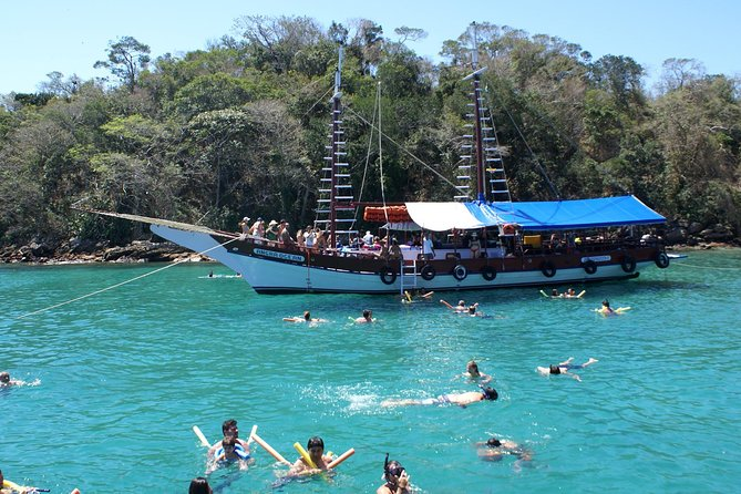 Visit three beaches from Ilha Grande by schooner on this 5-hour tour. Stop at Lagoa Azul(Blue Lagoon), Freguesia de SantanaandJapariz to take in the scenery and swim, dive, or snorkel. Each stop is 40-50 minutes, and you can take in the natural beauties of Ilha Grande with your guide.