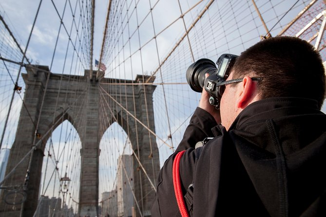 Capture the legendary beauty of NYC's Brooklyn Bridge and the iconic Manhattan skyline on a 1.5-hour photography tour. Join an expert photographer on a walk across the Brooklyn Bridge, ensuring you get the best views and learning basic photography skills — and how to hone what you already know —as you go. Bring your digital camera to shoot stunning Brooklyn Bridge souvenir images. Appropriate for all skill levels.