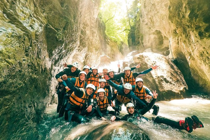 Enjoy an introduction to the sport of canyoning in the Swiss Alps on this half-day canyoning experience from Interlaken. Travel beneath the soaring peaks of the Jungfrau, Mönch and Eiger mountains to the local canyon, just a short drive from Interlaken itself. Climb into your wetsuit and safety gear, then get up close to nature as you float, leap, abseil and splash through a series of rock jumps, plunge pools and natural chutes. Enjoy personal attention from your guide on this small-group tour, limited to 13 people.