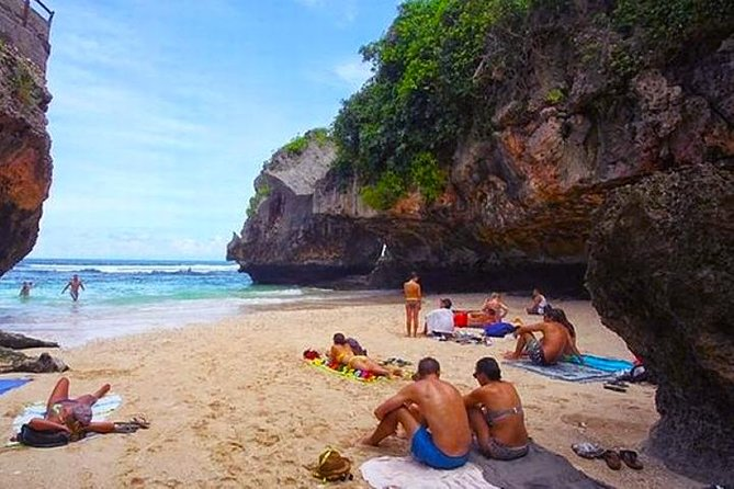 Enjoy the natural beauty of Bali Hidden Beach Bali Hidden Beach Tour & Sunset View Seafood Dinner. This tour offers you to discover the hidden paradise in south Bali. Those are Padang Padang Beach, Suluban Beach, and Green Bowl Beach. In Padang Padang beach you'll see the hills, steep rock, the crystal clear waters, the blue sky and white sand. Next is Suluban Beach also known as Blue Point Uluwatu is extremely captivating. Then the last beach is Green Bowl Beach is one of the unexplored beaches in Bali. This hidden gem is very less crowd. Then let's end the tour by having dinner at Jimbaran.
