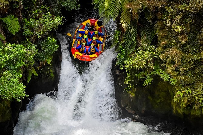 Kaituna Cascades was the original company to explore and start rafting the Kaituna River, a long standing goal achieved and one we are very proud of. Experience the thrills and spills of the Mighty Kaituna River as we take on the world famous 7 meter Tutea Falls, the highest commercially rafted waterfall in the world. Together with your expert guide, your team will enjoy a 50 minute action packed ride down 14 epic rapids in a tight and twisting warm water jungle canyon. This is a white water enthusiasts dream and is a must do for adrenaline junkies and 1st timers rafters alike! All of our guides are handpicked, highly skilled professionals that come from an extreme whitewater background in Kayaking and Rafting. We strive to give you the safest and most entertaining trip on the river! Our aim is have FUN, So come join us for this EPIC once in a lifetime experience.
