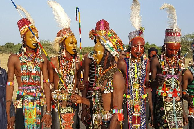 In every September nomadic clans from the Niger region come together in the middle of the country for massive celebrations comprising of feasts, camel races, markets, and Male Beauty contests. The celebrations are termed as Gerewol festival, and is the largest in the region