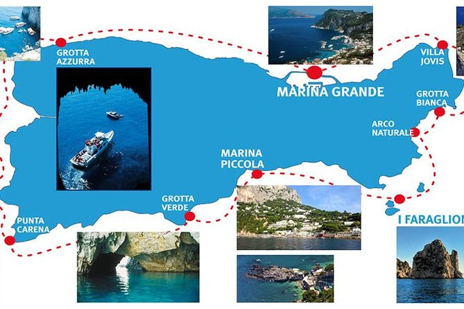 Cruise the entire coast of Capri by boat<br><br>Benefit from frequent non-stop departures from 9am to 2 pm <br><br>Marvel at the scenery as you pass icons such as the Arco Naturale and Tiberius's Leap<br><br>Stop at the Blue Grotto and take an optional visit to go inside paying €15 for the entrance <br><br>NOTE If the blue Grotto will be closed that day, due to marine conditions, we will take only 1 hour by boat <br><br> <br><br>