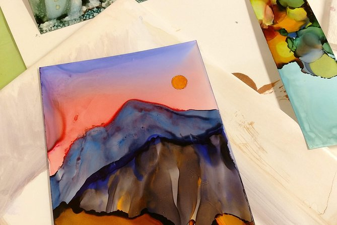 This class is a fun and relaxing introduction to learning how to use Alcohol Inks to create beautiful landscapes inspired by the Rocky Mountains. It's great for families and special events as well as those just interested in learning something new. Easier to work with than watercolor and incredibly vibrant, every participant will leave with a matted, finished piece they are proud of and is ready to be framed and hung in their home.