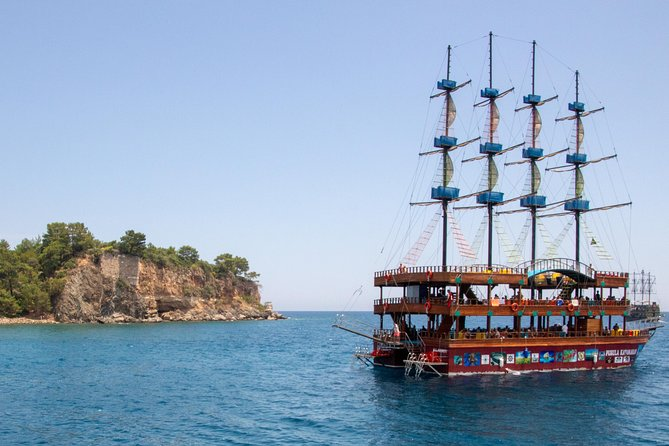 We invite you to an exciting journey along the coast of Kemer on a stylized pirate ship!<br><br>From the port of Kemer you will go to the bay of the ancient city of Phaselis, where you can swim and refresh yourself.<br><br>After a delicious sea dinner prepared for you by the crew of the ship, you will go to the Paradise Bay, which got its name due to the unusually deep blue color of the water.<br><br>Throughout the journey, the team will entertain you and your kids, and a foam disco on the deck will give you a positive charge for the rest!<br><br>Great tour for the whole family!