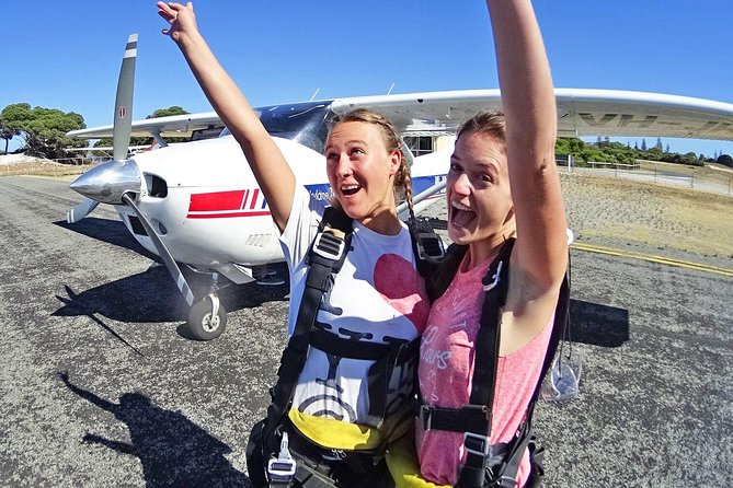 Skydive over WA's favourite holiday island and travel there in style with Rottnest Express<br><br>TANDEM SKYDIVE WITH GERONIMO INCLUDES: <br>* Stunning flight to altitude over Rottnest Island with views of Perth City and WA coastline beyond<br>* Exhilarating up to 66 seconds of free fall time with your experienced Skydive Instructor<br>* 5 minute parachute ride with unobstructed views of the island<br>* Beach landing on one of Australia's most beautiful beaches<br>* A free beach side drink at Thomsons to celebrate (skydiving is thirsty work!)<br>* Share your experience instantly with your friends (requires optional video packages)