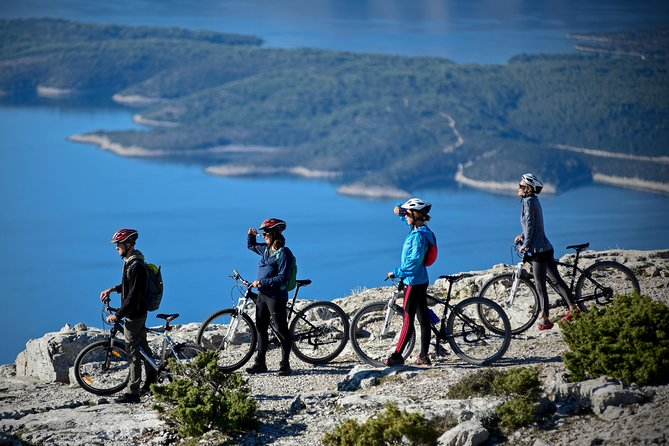This biking tour begins at the top of Vidova Gora, the highest peak of the island Brač, and ends at the seaside.<br><br>The path is 22 kilometres long, and it takes about 2:30 hours to cross it. The interesting part of this tour is the completely different vegetation and climate you will experience on the mountain top and at the seaside.<br><br>Vidova Gora mountain offers not only the best view on the island, but also pristine nature and a great biking trail. Descending from the mountain, sheltered by the black pines we will go towards the villages.<br><br>We will pass through Nerežišća - located on the crossroads of the island's main roads and Škrip – the oldest settlement in Brač, where we will visit the Museum of Oil. The museum presents the traditional process of olive oil making on the island of Brač. The Museum of Oil exhibits olive mill, olive press, spindle for tightening press screw, bags, fireplace for heating water and all traditional tools for transport, production and storage of olive oil.