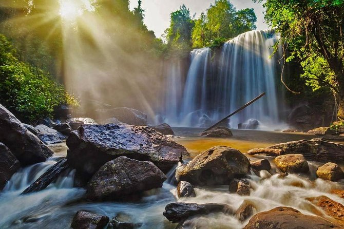The tour starts at around 8:30AM and last for about 7 hours. Leave the hotel from the city and drive on 53Km to Kulen Mountain.<br> - Explore Kulen Mount where the original of Angkorian civilization started in 9th century. <br>- See huge reclining Buddha carved on the peak of natural sandstone in 16th century. <br>- Drive back to explore the thousand lingas at the bottom of the river. <br>- Walking through the tropical forests to the waterfalls at the lower levels.<br> - Return back to visit Artisans Angkor, where art handcraft is made in the city (optional).<br> -Send you back to the hotel<br>