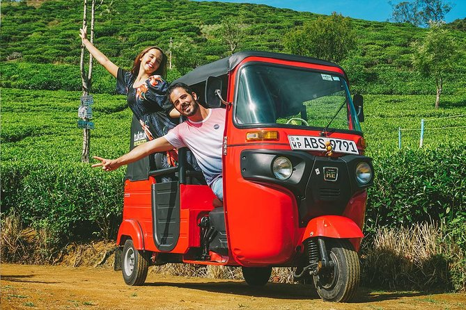 "Enjoy the tea breeze of the hill country in the tuk-tuk ride with The MICE Team. You will start your tour in Nuwara Eliya and you will be taken to visit the lovers leap waterfall and Gregory Lake. Surrounded by vast mountain range, Nuwara Eliya city is famous for the finest tea in the world. You will be able to visit ""pedro"" tea factory to witness the never-ending lines of tea fields. In this tour you will get to experience the tea plucking with local tea state workers. Tuk-tuk rides with The MICE Team will always be thrilling and unique for you to experience the best."