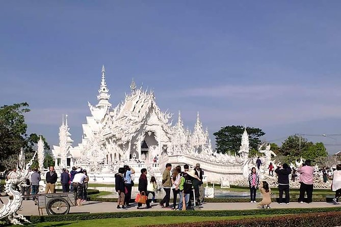 Chiang Rai Sightseeing Join Tour Our comfortable, well air conditioned van or car pick you up at your hotel between 7.45 am - 08.30 am.The first destination will be the beautiful White Temple. From there your sightseeing continue to Blue Temple,Black House,Long Neck Village,Choui Fong Tea Plantation,Mae Sai.Before Mae Sai we stop for a lunch break.After you have enjoyed your lunch the next spot is the Golden Triangle where you can visit Opium Museum and enjoy Mekong River view.Back to town.You be back at your hotel around 17.00 pm - 19.00 pm. Pick up only in a radius of 3 km from Chiang Rai Night Basar.<br><br>Tour includes <br><br>Transport in a/c minivan or car<br><br>Drinking water<br><br>Thai Lunch <br><br>English speaking tour guide<br><br>Insurance <br><br>Not include <br><br>Soft Drinks<br><br>Entry fees White Temple (100 ฿ per pax), Black House (80 ฿ per pax),Long Neck Village (300 ฿ per pax) and Opium Museum (50 ฿ per pax)<br><br>Only pick up in Chiang Rai .<br><br>