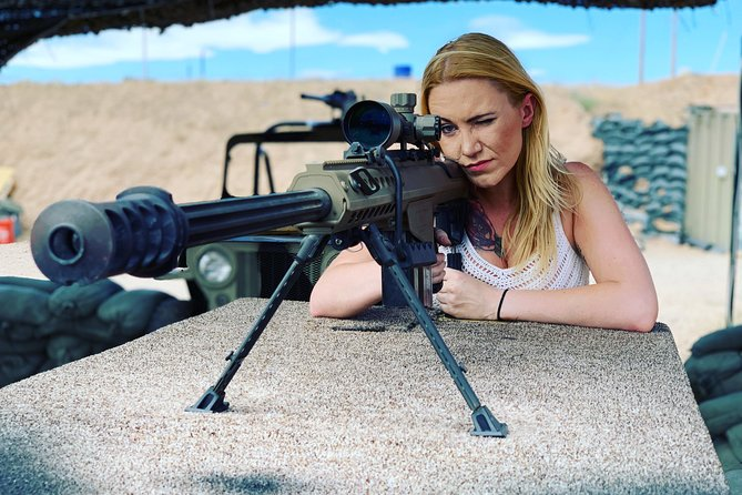 You will shoot at military themed range with trenched in shooting bays. Each bay has multiple targets to choose from. The Barrett M107A1 50 Cal is setup on a 150yard range. We have exploding targets, bowling pins, and steel targets to shoot at. <br><br>We have over 50 different firearms to choose from including many military grade machine guns. <br><br>Each group has their own assigned Range Officer who will make sure you have a great time and are safe doing so. You will not be treated like cattle and rushed out like many indoor ranges do.