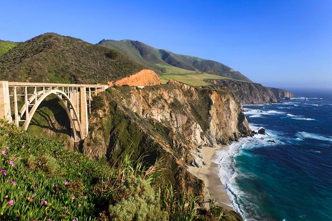 Transportation by driver guide using full size sedan car or SUV. This is unique way of visiting one of the most scenic areas in the U.S. The driver guide will stop at places you wish to enjoy in Santa Cruz, Monterey, Big Sur, Bixby Bridge, River Inn, Pfeiffer state park of Coastal Redwoods, Nepenthe and many other places.
