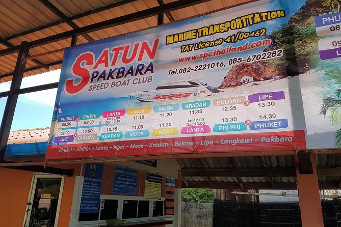 Travel daily all year round from Koh Lipe to Pakbara Pier by Satun Pakbara speed boat with convenient meeting point at Pattaya Beach on Lipe Island and a drop-off point at Pakbara Pier in Satun.
