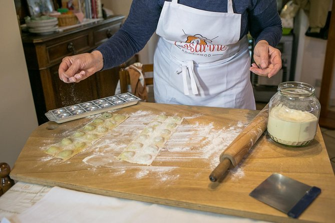 Immerse yourself in a private pasta and tiramisu-making class at the Cesarina's home, learn the secrets of the region's most famous pasta dishes and taste the fruit of your labour accompanied by a glass of local wine. <br>During the lesson the Cesarina will reveal the tricks of the trade of 2 authentic regional pasta recipes and of the iconic tiramisu.<br>Have fun putting your cooking skills to the test. Each participant will have a workstation equipped with utensils and all the ingredients to make the dishes. Then, taste everything you have prepared accompanied by a selection of red and white local wines.<br>Le Cesarine is Italy's oldest network of home cooks all over the country in more than 120 cities. They are passionate and welcoming hosts that open the doors of their own homes to curious travellers for immersive culinary experiences.