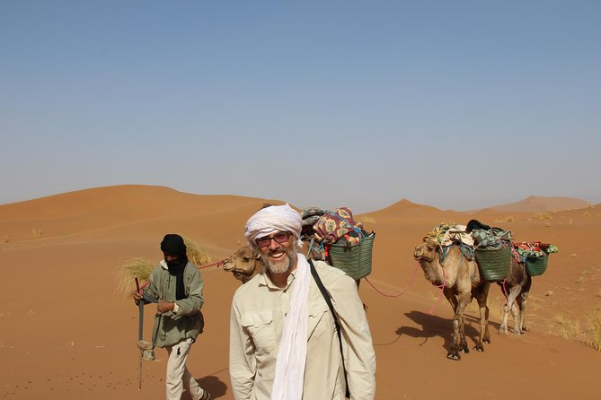 It's an unique experience in the Morocco desert. The camel trek is ideal to remove stress, enjoy the silence of the Sahara, admire the sunset and the stars, discover the different landscapes of the desert and the nomadic lifestyle. It's also a trip that's invites you to the meditation and the introspection.