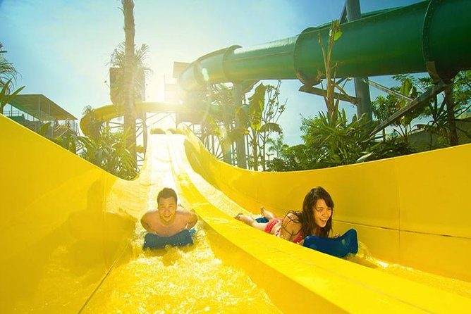 Ensure your place at Waterbom Bali and beat south Bali's gridlocked traffic with this convenient private package that includes hotel transfers and pre-booked tickets. With almost 9 acres (4 hectares) of carefully landscaped grounds, Waterbom is TripAdvisor's #1 water park in Asia. Find out why on thrilling rides like the super-steep Climax or the gentler pleasures of the kids' area. Beat the long lines at Waterbom Bali, TripAdvisor's #1 waterpark in Asia Thrill to adrenaline-fueled rides like Smashdown 2.0, Pipeline, and Climax Relax in the lush gardens or treat younger guests to the kids' area Take it easy with door-to-door transfers from south Bali hotels.