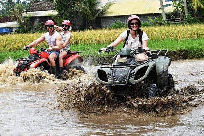 The duration is around 90 1.5-2 hours depending on how fast you ride the quad bike through the ride through a waterfall, slide down hills, ride through a cave, and picturesque panorama of rice fields.