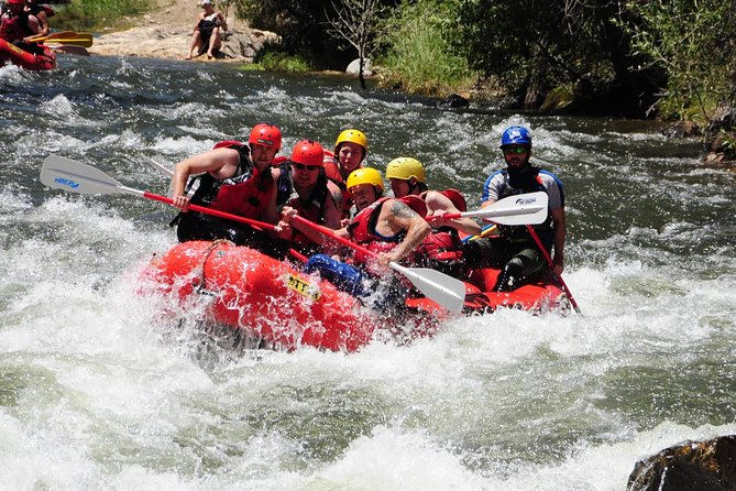 Once you're in the boat and heading down Clear Creek, you will enjoy a fun stretch of water while sightseeing historical locations. You and your crew will navigate Class III to Class V rapids like Nomad and Phoenix before exiting your rafting trip at Deliverance. A short bus ride will take you back to Raft Masters where you'll have the opportunity to purchase souvenirs for your friends and family and view the action-packed photos taken of you and your group on the biggest rapid of your trip.
