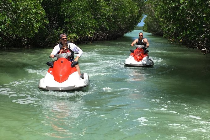 "Our tours start with an open ocean ride where you have a 15 minutes ""FREEDOM RIDE"" in a big open area. From there, we start our Jetski / Waverunner Tour by touring the following:<br><br> World Famous Islamorada Sandbar<br> Under the Whale Harbor Bridge<br> MANGROVE TUNNELS<br> Another 15 – 20 minute ""FREEDOM RIDE"" and a ""DIP"" (swim) on the calm water of the Gulf Side (Bay Side) where you will be surrounded by Mangroves<br> Bud N' Mary's Marina<br> Islamorada Coastline (ocean side)<br> Long relaxing ride back to the marina<br>"