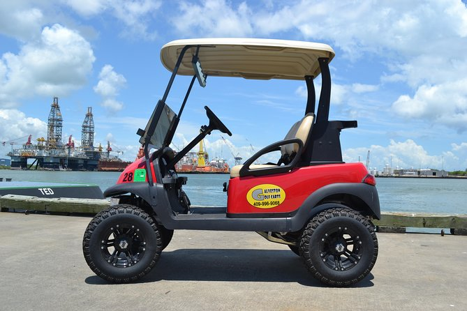This golf cart is perfect for one or two people. It has storage room in the back for a cooler or other items.