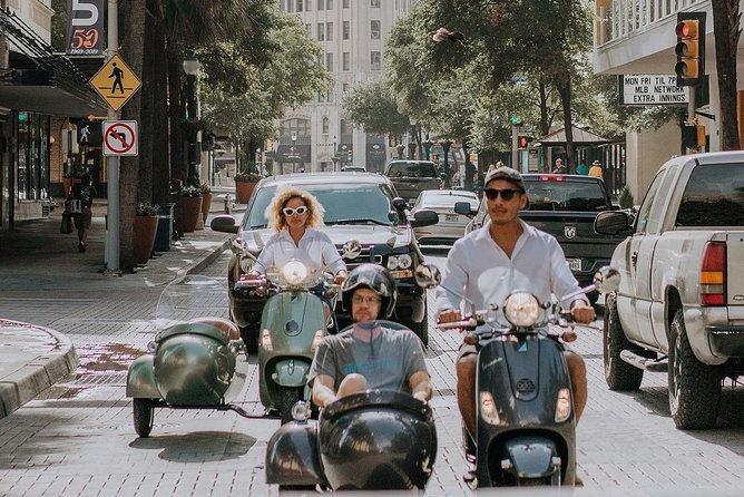 We are an original, fun for all, unique way to experience San Antonio!<br>Experience San Antonio and the surrounding neighborhoods via a Modern Vespa SiDeCaR. We will drive you, as you sit back and relax with wind in your hair and sun on your face, in our safe and comfy Vespa SiDeCaRs to hidden gems only a local would know. Along the way you'll enjoy a typical San Antonio Tex-Mex taco from a local restaurant. Local refreshments keep you cool and hydrated. Continuing on, we cruise through a historic neighborhood with deep European roots. We then swing by one of our very own UNESCO sites where you will be immersed in our cities deep history. Snap pictures and video for your friends, family and social media!. We can also stop along the way as you request to snap that all important picture!<br><br>* Vehicle carries 2 guests; one behind the driver and the second guest in the sidecar<br>* Guest weight limit - 220 lbs