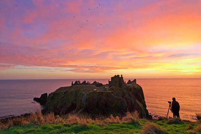This is a private tour for your group only. Scotland has many treasures to offer and a lot of them are in Aberdeenshire. We will take you on a private tour to areas that are as stunning as they are interesting. You will learn about the attractions and their history and have a great day out, whether that be to ancient castles, a distillery or to see Highland Cows.<br><br>Tours can include – Iconic Castle(s), Distilleries, Historical Areas, Stunning Scenery (examples listed from which we choose a route), Optional Lunch.<br><br>Pick up and drop off is from your Hotel, Train Station, Airport or Cruise Ship.<br><br>Minimum passengers: one. Maximum passengers: four.<br><br>Tours available seven days a week, subject to availability.<br><br>Time Exposure Travel are members of ABTOT (No.5419) which provides protection for customers' prepayments.<br>