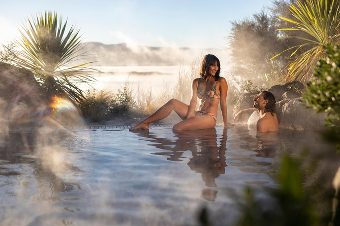 Slip into steaming geothermal mineral water and a cold plunge pool at the Rotorua Deluxe Lake Spa, where pre-booked admission gets you access to premium changing rooms, an indoor lounge, mineral pools, and heated poolside recliners. The all-ages facility is a family-friendly alternative to Lake Rotorua's adults-only options, and with unlimited hours of spa time (on the day), you won't feel rushed as you relax, soak, and pamper sore traveling muscles. Deluxe Lake Spa tickets feature full premium bathing spa access. Enjoy views of the lake from a series of mineral hot pools A range of temperatures lets you find the perfect pool for you. Securing tickets in advance ensures a stress-free arrival