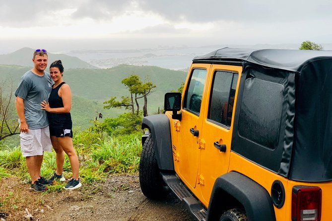 "Enjoy a full-circle itinerary on both the Dutch & French Side of Sint Maarten, while experiencing the major highlights & beaches !  This is a guided excursion at a ""sightseeing pace"", mainly on-road, with a portion off-road.  All drivers must present a valid driver's license.  All Jeeps have radio communication with the tour guide's Jeep.  Includes 2 beverages per person (bottled water & soda's).  Cool off at the end of the Jeep ride, with a refreshing swim at the beautiful Philipsburg beach.<br><br>For the ""shared Jeep"" option, we allow a maximum of 4 occupants per vehicle. You may share the Jeep with other vacationers or with the tour leader/guide.<br><br>For the ""Jeep-buyout"" option, we allow a maximum of 5 occupants per vehicle. So : 5 people join for the price of 4 !<br><br>LARGE GROUPS order per Jeep buy-out. If the # of participants is not a multiple of 5, you may reserve the remaining spaces per person. Please mention your group arrangement in the ""special requirements"" section of the order."