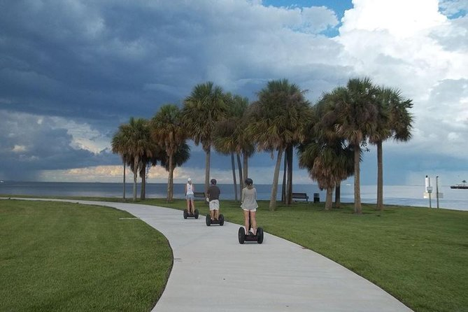 On this one hour Scenic Segway Tour of Downtown St. Petersburg which is located in the Historic District, you will be viewing 5 miles of endless parks and beautiful waterfront for most of this tour. Your guide will be pointing out and explaining all the local flora and fauna as well as some historical facts through your own personal headset receiver. If you are lucky perhaps a dolphin or manatee will be spotted on your tour. You will also be seeing where some wonderful museums, restaurants, bars and shops are located. As well as getting a feel of this vibrant city's vibe all while riding on a Segway.<br><br>You will receive a 20 minute hands on training prior to the tour. Each person will have a Segway i2, headset receiver, bottle of water, helmet and sunscreen provided. <br><br>Strict 24 hour cancellation policy.