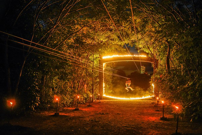 After the sun goes down you can experience the unique nightime adventure in the All-Inclusive park — Xplor Fuego —. When the stars come out, the jungle comes alive with the nighttime adventures that highlight the Riviera Maya natural beauty.<br>You'll get your adrenaline shot while you are rafting, swimming in a red-lit underground river, driving an ATV, falling in the highest and longest zip-lines in Riviera Maya and also you can swim through underground caves. It's an all-encompassing outdoor adventure that is the perfect way to enjoy in Cancun, Playa del Carmen or The Riviera Maya.<br>In this attraction the transportation is included. Enjoy the delicious all you can eat buffet which is also included too.