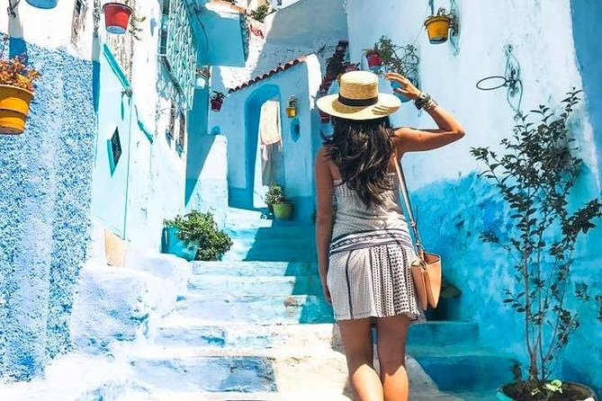 "Embark on a full-day tour to Chefchaouen, popularly known as ""The Blue Pearl"", from Tangier, and explore this magical city with a Multilingual Driver.<br><br>Leave Tangier by private, air-conditioned vehicle to reach the blue-painted walled Medina after 2h drive.<br><br>While you are booking you'll have two options. You can book a 2 hours guided walking tour of Chefchaouen with a local multilingual guide or, if you prefer, you can explore the city at your own pace, without a guide. Regardless the option you choose, your driver will reveal insightful information during the drive.<br><br>Upon arrival in the city, immerse yourself in Chefchaouen's Medina, one of the most picturesque historic centers in Morocco. You will enjoy strolling through its winding streets flanked by pretty blue houses. Absorb the Moorish atmosphere, see the 15th-century 'Kasbah' , Mosque, and main square.<br><br>In the afternoon, you will head back to Tangier. We will visit the sites of Cap Spartel and Hercules caves."
