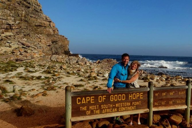 Our extra early departure to the Cape of Good Hope is a must do in season to avoid heavy traffic and do the key visit ahead of the crowd This sightseeing tour will take you all the way down to Cape Point Nature reserve and Cape of Good Hope and all around the Cape Peninsula. The circular route from Cape Town down to the Cape Point nature reserve and back is approximately 180 kilometers. You'll travel along the Western side of the peninsula known as the Atlantic seaboard with its sparkling white beaches.By mid morning we will reach the Cape of Good Hope Nature Reserve and the tip of the Cape Peninsula. Enough time will be allowed for you to walk to the old light house. We will also take you to the most South Western tip of Africa; mythical meeting place of the Atlantic and Indian Oceans; the Cape of Good Hope. On our way back to Cape Town we will be traveling along the Eastern side of the peninsula.<br>Our visit will be Boulders beach Penguin colony and the Kirstenbosch botanical garden.<br><br>