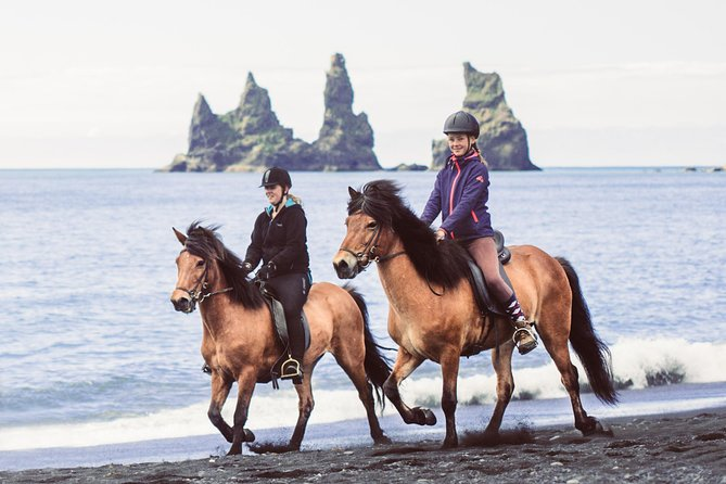 Our horses are friendly and sure-footed and suitable for everyone, beginners and experts alike. Riding the Icelandic horse in its natural environment is something everyone should try at least once in the lifetime. Our tours depart from the stables in Vík and take us along the beautiful black sand beach. In the summer time, puffins may be flying high above us and the view of the Reynisdrangar sea stacks is always an eyesight.<br><br>Our tours are easygoing and aim to let you discover the area and our horses at a calm pace, perfectly suited for beginners. If you are up for trying out the unique gait of the Icelandic horse, tölt, you will get a chance to try that as well!
