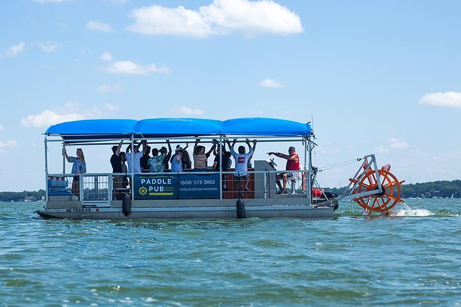 Paddle Pub is a 16 passenger, pedal-powered boat for the ultimate party on the water. Complete with a sound system, 12 pedaling stations, a large bench, party lighting and room for 16 passengers – we've got your Madison party needs covered!