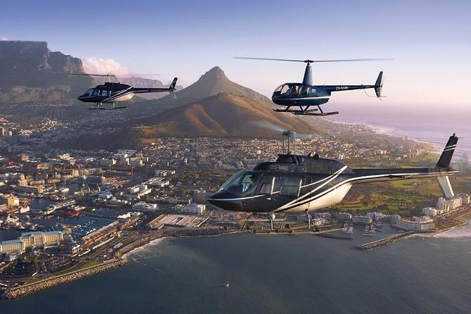 CAPE TOWN HELICOPTER TOUR 10:00AM<br><br> Fly around the beautiful city of Cape Town and get a birds eye view of our beautiful coastline and mountain range. On this trip you will get a better idea of Cape Town's layout and see all the places that you have visited or will visit. way to kick off your holiday! Enough memory on your cameras and phones, you don't want to miss out on these amazing photos. You will depart from the V&A Waterfront at Sport Helicopter's helipad. After the tour you will receive a complimentary glass of sparkling wine as well as transport back to the V&A Waterfront <br>
