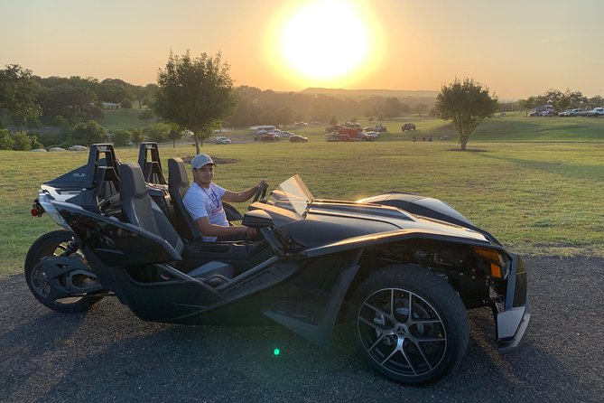 Slingshot are simply fun vehicles. We like to refer to them as adult go-karts. Just imagine yourself sitting in the Slingshot with your favorite music on and driving through all the backroads with amazing Texas Hill Country views. It's quite an experience.