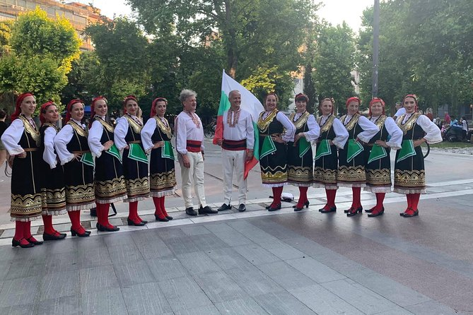 """""""Discover Bulgaria with dance"""" is the only workshop in Sofia that gives tourist the opportunity to explore the culture of Bulgaria with the art of dance. You will have the chance to learn a folklore dance and taste a traditional meal. At the same time our instructors will give you interesting trivial information and insights on the customs of the region. To top it off, you will take a photo in a traditional dance costume(garb)."""